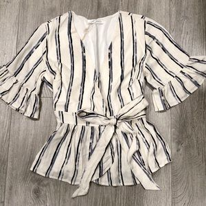 Distressed Stripe Ruffle Sleeve Wrap Top